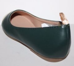 Gap Kids NWOB Girls Green Faux Leather Ballet Flats w/ Gold Toe image 8