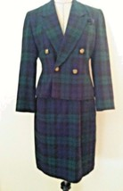 Vintage 90's womens suit skirt navy blue green plaid double breast size ... - $54.23