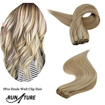 RUNATURE Clip on Human Hair Weft Extensions 14 Inches 100g 9pcs 16P24 Piano Colo image 1