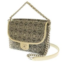 CHANEL Chain Shoulder Bag Canvas Leather Gray White Camellia A57257 Authentic - $2,307.65