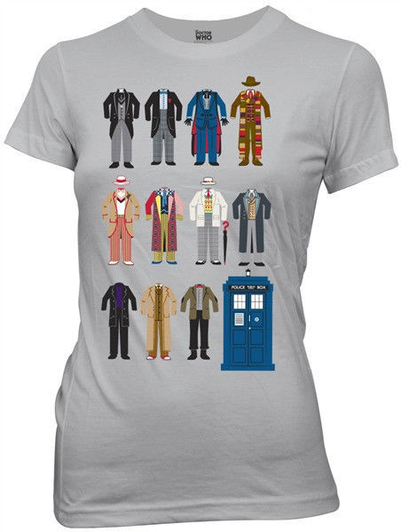 Doctor Who All Eleven Doctor Outfits Silver Baby Doll/Juniors T-Shirt NEW UNWORN