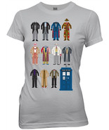 Doctor Who All Eleven Doctor Outfits Silver Baby Doll/Juniors T-Shirt NE... - $14.50