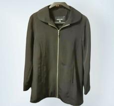 Jones New York Solid Black Zipper Jacket Size Small - $23.38