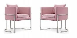 Meridian Furniture Pippa Modern Pink Velvet Chrome Base Accent Chair (Se... - $1,249.50