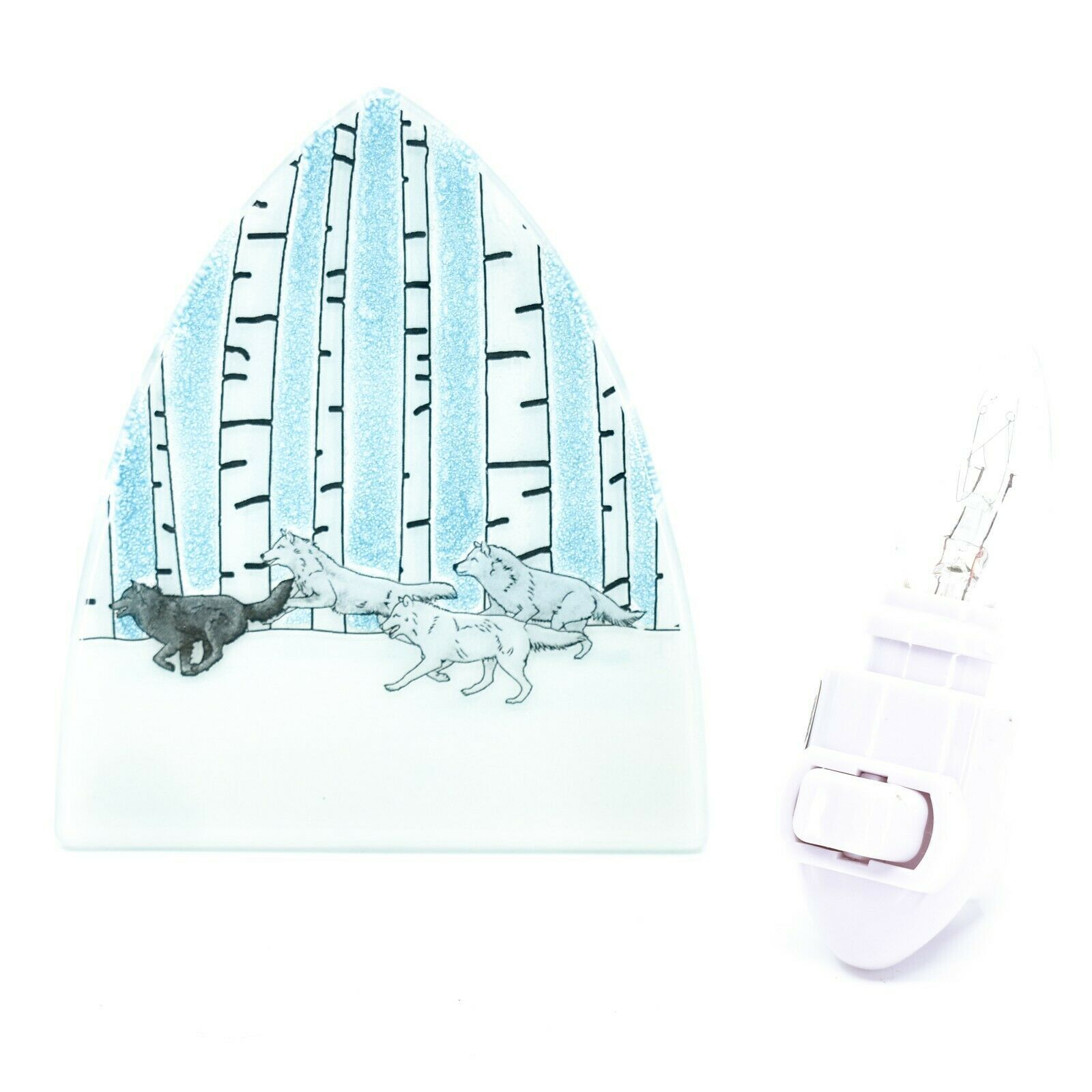 Handmade Fused Art Glass Running Wolf Pack Snowy Winter Nightlight Night Light