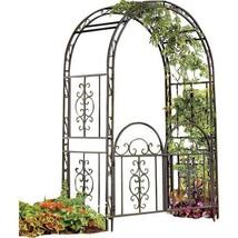 Garden Outdoor Living Home Yard Montebello Iron Arbor Decor Arched with ... - $349.49