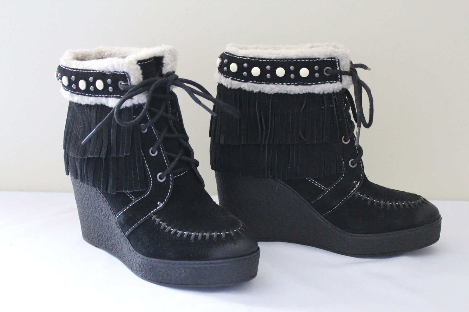 dcd281b65a7d S l1600. S l1600. Previous. NEW! Sam Edelman Black Suede Leather Fringe  Studded Kemper Boots 7 M  150