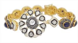 925 Sterling Silver Rose Cut Polki Victorian Vintage Diamond Sapphire Bracelet - $321.64
