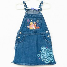 Disney Winnie the Pooh Overall Jumper Dress 4T Pockets Blue Cotton Butte... - $19.69