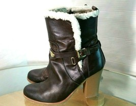 Kors Michael Kors Women's Sheep Fur Brown Leather Ankle Boots Heels Size... - £39.72 GBP