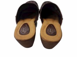 Brown Leather Dr Scholls Women Mule Clog Shoes Size 8 image 2