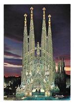 Barcelona Spain Church Expiatory Temple of the Holy Family Night 4X6 Pos... - $8.99