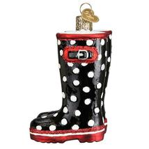 Rubber Rain Boots Christmas Holiday Ornament Glass - $43.76