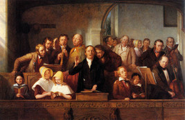 Village Choir Church Singing Painting By Thomas Webster On Canvas Repro Large - $74.00