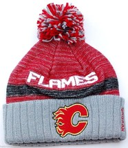 Calgary Flames Reebok Center Ice Nhl Hockey Team Pom Knit Winter HAT/BEANIE - $18.99