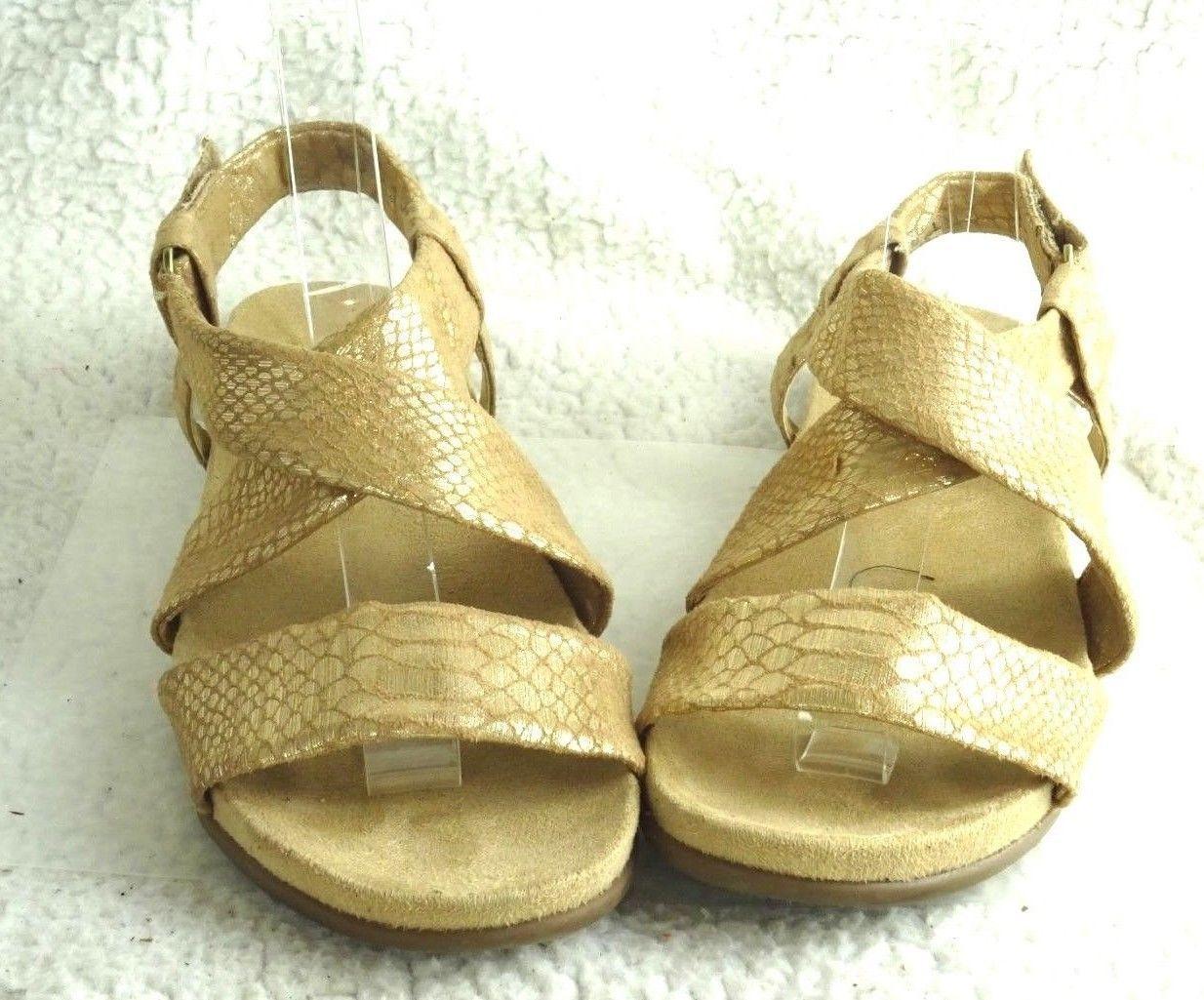 308b45eef925 Naturalizer Ainsley Womens Sz 8 M Light Tan   Gold Canvas Slingback Sandals