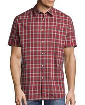 John Varvatos Star USA Men's Short Sleeve Peace Sign Plaid Shirt Red Cla... - $681,17 MXN