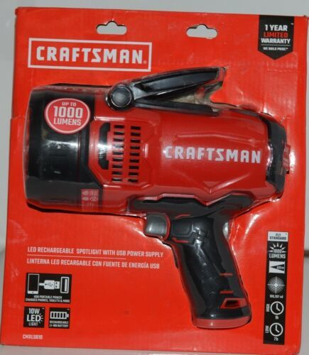 Craftsman CMXLSB10 LED Rechargable Spotlight with USB Power Supply Package 1