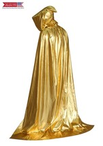Hooded Cloak Role Cape Adult Play Costume Shining Gold 170cm - $37.87