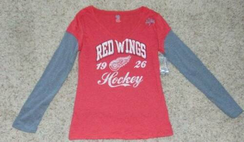 Primary image for NEW-Detroit Red Wings Hockey Red Gray NHL Womens Logo V-Neck Long Sleeve Shirt-L