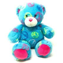 Build A Bear Peace Friendship Teddy Bear Plush 14 in Blue Tye Dye Stuffe... - $17.69