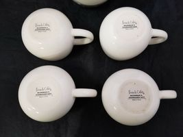 French Cafe Ceramic Hot Chocolate Serving Pitcher & 4 Mugs Set of 5 White image 9