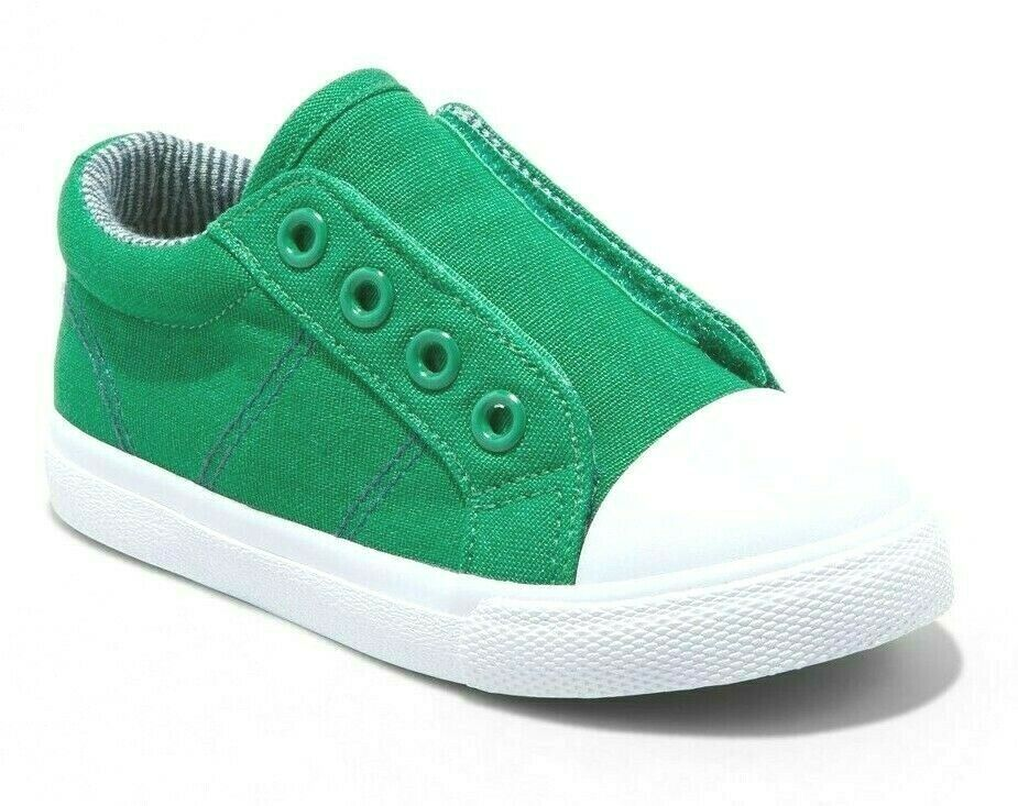 Cat & Jack Toddler Boys' Dwayne Green Canvas Hook & Loop Slip-On Sneakers Shoes