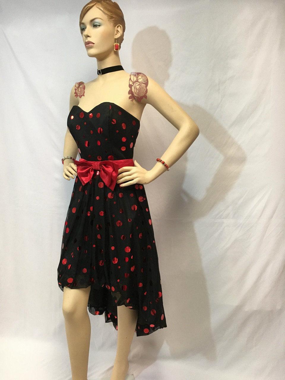 Bubble Hem Strapless Sweetheart High-Low Metallic Cocktail Dress