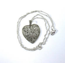 Sterling Marcasite Heart Necklace, Heart Pendant, Silver Filigree, signe... - $24.00