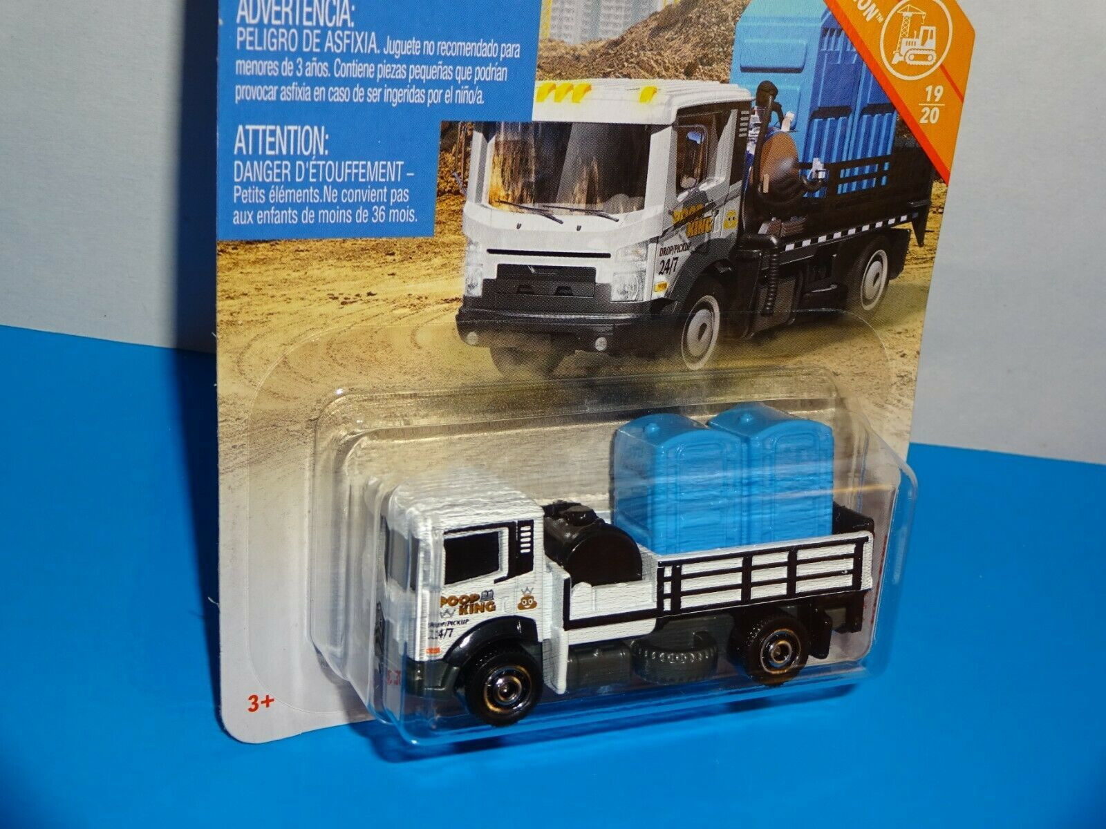 Matchbox 2019 MBX Construction #22 Poop King White Port-A-Potty Transport Truck image 2