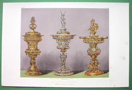 VASES & Tazzas Made for HM Queen England - 1862 VICTORIAN Color Print - $12.15