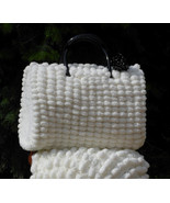 Women's crochet handbag, Medium tote handbag, White handbag, Set Scarf a... - $99.00