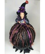 Large Halloween Witch Tabletop Decoration Hand Made OOAK Black & Purple  - $49.49