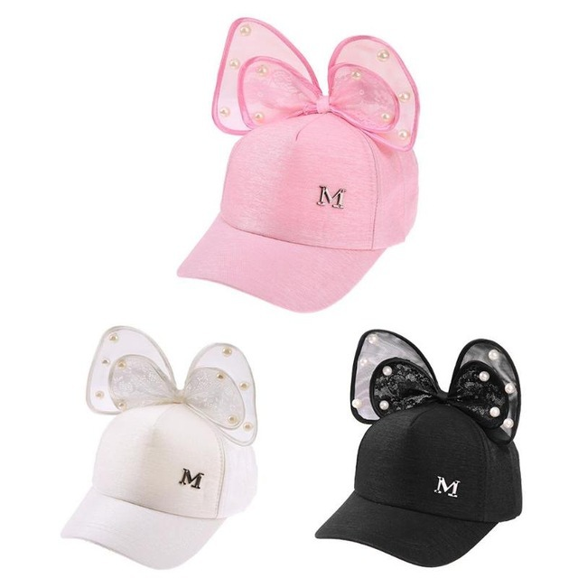 e7ecfd96b6c N baseball cap baby summer hat rabbit ear pearl big bow kids sun hats girls  snapback