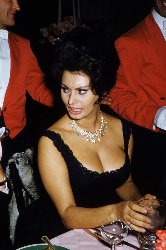 Primary image for Sophia Loren huge cleavage at party 1960's 18x24 Poster