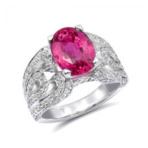14k White Gold 5.16ct TGW Certified Pink Sapphire and White Diamond Ring - £14,660.45 GBP