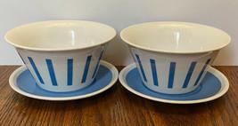 Vtg LaGardo Tackett Schmid Porcelain Blue Striped Bowl Plate Set Lot Of 4 MCM - $32.71