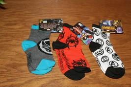 Three Pair of Kid Boy Socks Spiderman Avengers Black Panther Small New - $6.99
