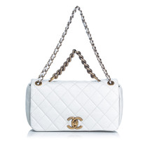 Pre-Loved Chanel White Calf Leather Paris-Bombay Pondichery Flap Bag Italy - $2,186.79