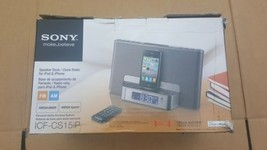 Sony ICF-CS15iP  w/ Remote Dream Machine Speaker Dock Clock Radio Silver - $89.99