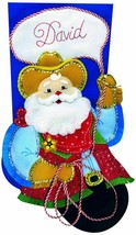 Design Works Cowboy Santa Stocking Felt Applique Kit 5233 18″ Long CHRIS... - $33.49
