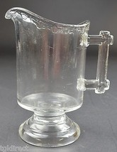 """Vintage Clear Glass Creamer Pitcher Drip Pattern & Wood Style Handle 5.625"""" Tall - $14.99"""