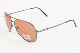 Serengeti Medium Aviator Satin Dark Gun / Polarmax Drivers Sunglasses 8633 - $195.51