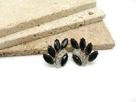 Vintage Sarah Coventry Vienna Nights Black Rhinestone Clip On Earrings WW57 - $16.99