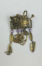 Vintage JJ brooch pin gold tone cat head on fence gardening tools - $20.17