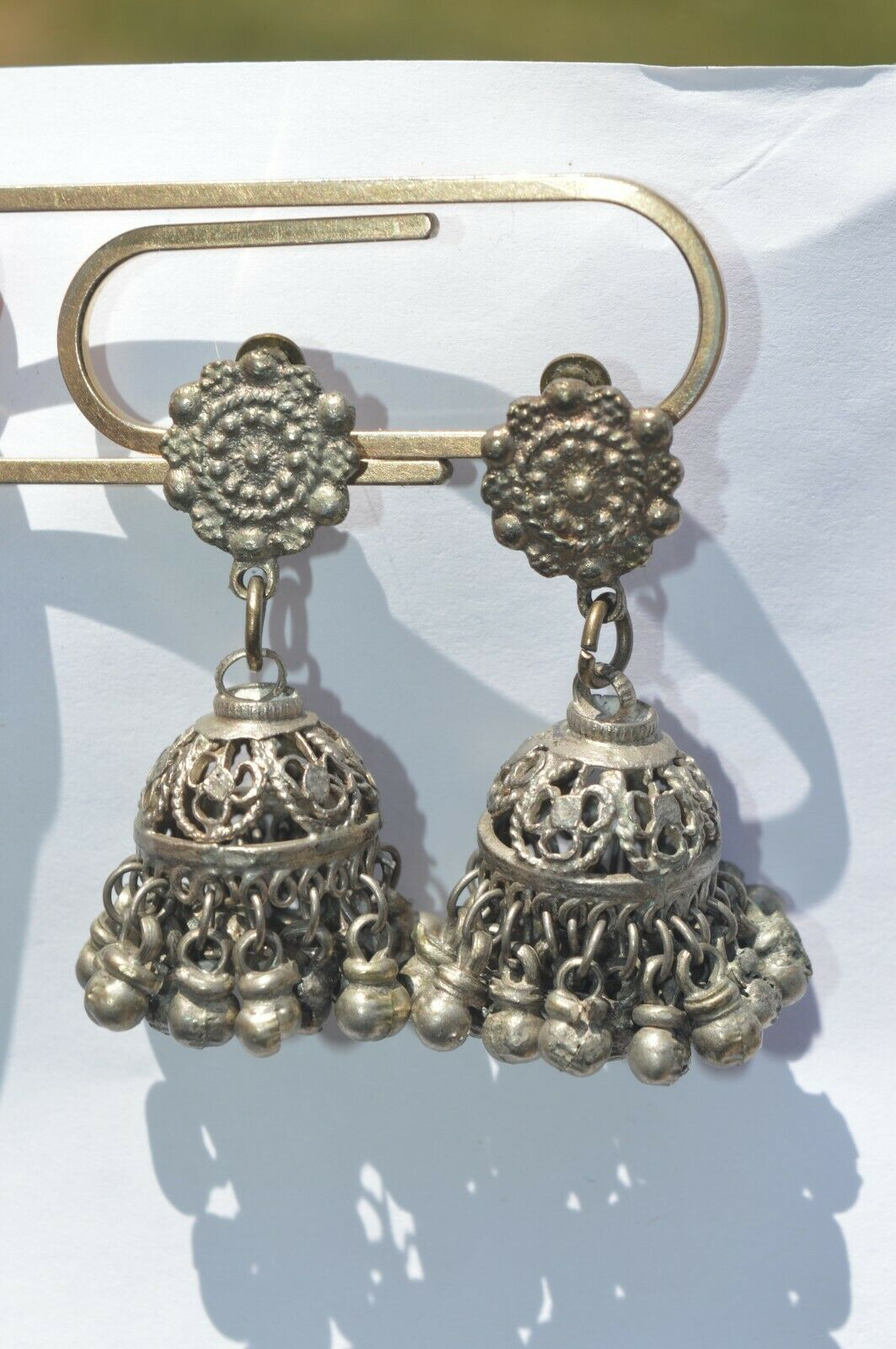 Primary image for Victorian Rare Vintage  Silver tone Many Dangles Clip On Earrings UNIQUE