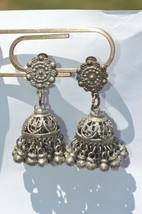 Victorian Rare Vintage  Silver tone Many Dangles Clip On Earrings UNIQUE - $23.33