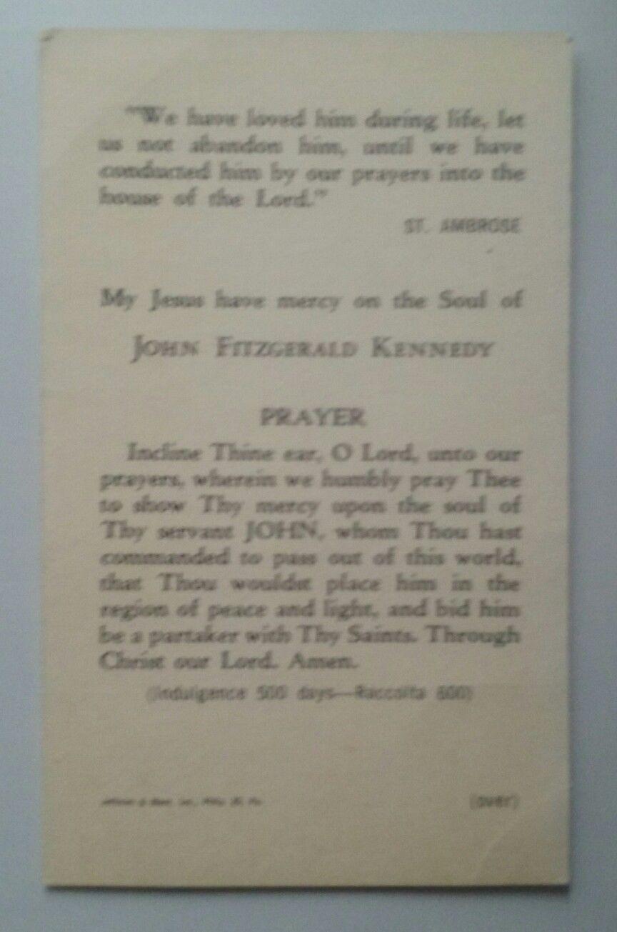 VINTAGE CATHOLIC HOLY CARD ~ COMMEMORATING DEATH OF ~ PRESIDENT JOHN F. KENNEDY