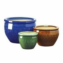 Embossed Jewel Tone 3pc Flower Pot Planter Set - $35.85