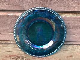VTG IRIDESCENT BLUE CARNIVAL GLASS LITTLE BO PEEP CHILDS PLATE - INDIANA... - $19.75